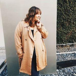 Justfab plus size camel trench coat size 3X